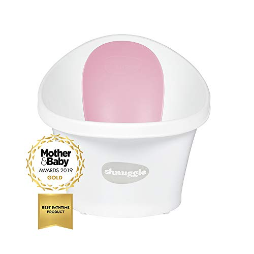 Shnuggle Bath with Backrest, White with Pink