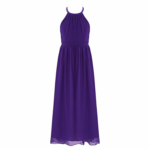 FEESHOW Big Girl Chiffon Flower Wedding Junior Bridesmaid Dance Party Gown Dress Purple 4