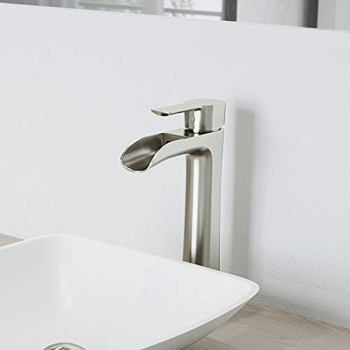 VIGO VG03024BN NIKO 8 inch Single Handle Brush Nickel Bathroom Faucet, Deck Mount Lavatory Vessel Waterfall Faucet with Plated Sevel Layer Finish