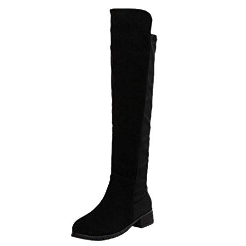 Flat Bottes Over Black Faux Knee Winter Leather Women Boots PU Knight Wellies Heel Chaussures Velvet Shoes wtfqTOAxq