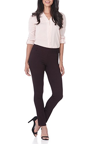 Rekucci Women's Ease in to Comfort Fit Stretch Slim Pant (14,Burgundy/Black Bubble)