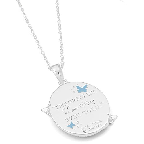 Disney Girls Cinderella Silver Plated Sapphire Crystal Pendant, 18'' by Disney (Image #1)