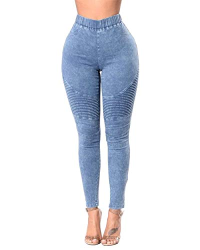 Pantaloni Donna Biker Da Push V Denim Unique Hellblau Up Boyfriend Jeans Destroyed Stlie 5AwqFftxC