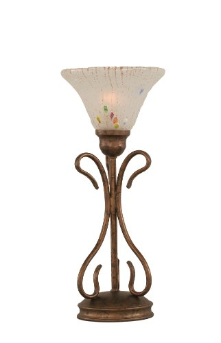 Toltec Lighting 31-BRZ-751 Swan One-Light Table Lamp Bronze Finish with Glass Shade, 7