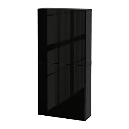Ikea BESTÅ Wall Cabinet With 2 Doors, Black Brown, Selsviken High Gloss