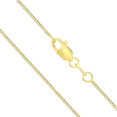 "14K Solid Gold 0.7mm Box Chain Necklace, 16"" - 30"""