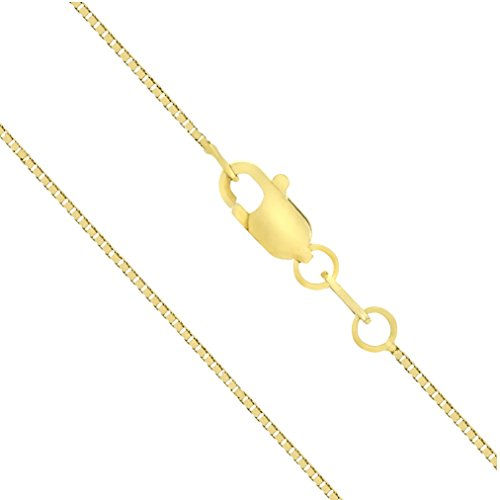 14k Gold Box Chain (14K Solid Yellow Gold 0.7mm Box Chain Necklace (20 Inches))