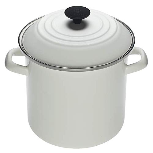 Le Creuset N5100-2216 Enamel Over Steel Stockpot, 8-Quart, White