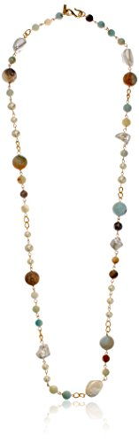 Kenneth Jay Lane Gold Amazonite Pearl Necklace, 36.5