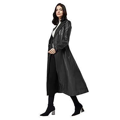 Elezay Women's PU Leather Slim Fit Long Coat Maxi Jacket with Belt at Women's Coats Shop