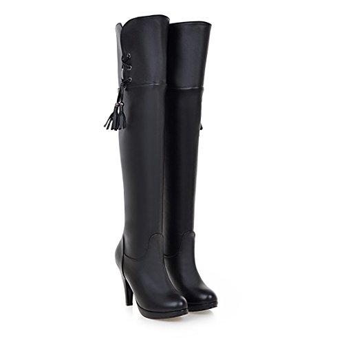 Aiguilles Fourrure Bottes Femmes En Genoux Noires Haut Et Frange Chaussures Noir Mode Chaud Avec Sexy Talons Plateforme Uh À HzASn