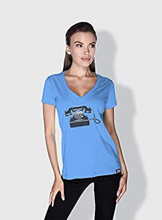 Creo Phone Retro T-Shirts For Women - L, Blue