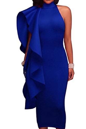 Coolred-femmes Manches Faux Col Paquet Couleur Unie Robe Froissée De La Hanche Bleu