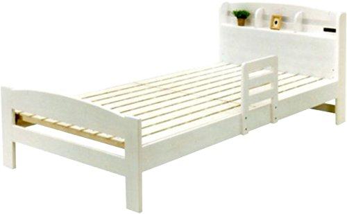 サイドガード付きすのこベッド シングルベッド フレームのみ 木製/ホワイト(WH) B0721VQLZY ホワイト(WH)