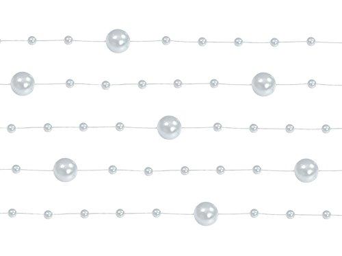 Perlengirlande Dekoschnur Perlenkette 6,5 m Perlengirlanden Silber