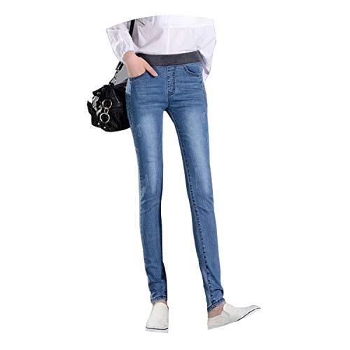 InnovativeVersionSin 2019 New Casual Elastic Waist Stretch Jeans Slim Denim Long Pencil Pants Lady Trousers,Light Blue Jeans,26
