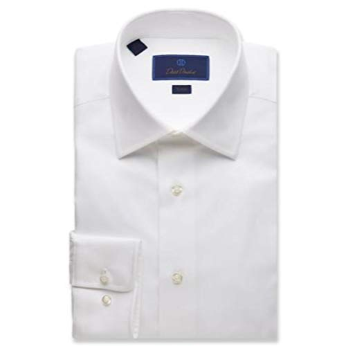 David Donahue Men's Trim Fit Royal Oxford Dress Shirt White -