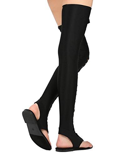 Cape Robbin Dames Elle-1 Dij Hoge Sandaal Nude Zwart