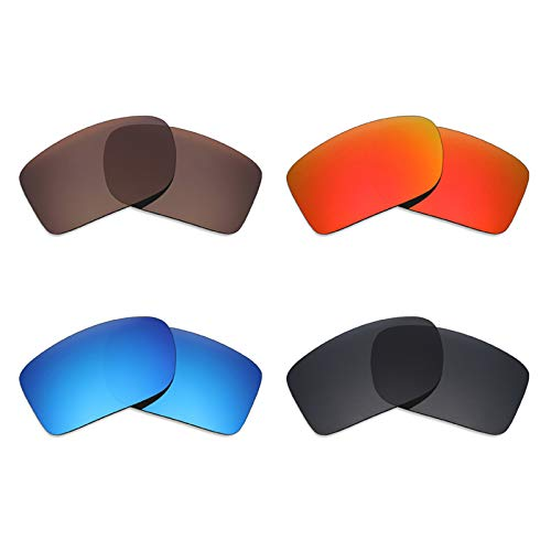 (Mryok 4 Pair Polarized Replacement Lenses for Oakley Double Edge Sunglass - Stealth Black/Fire Red/Ice Blue/Bronze Brown)