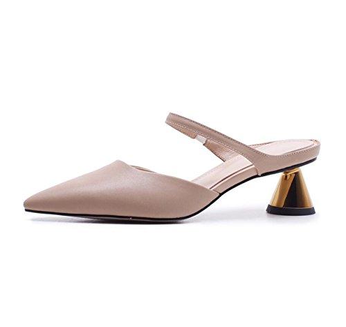 DANDANJIE Zapatos al Aire Libre creativos al Aire Libre del Verano del talón de Las Sandalias de los Altos Talones para Las señoras Zapatos caseros Albaricoque