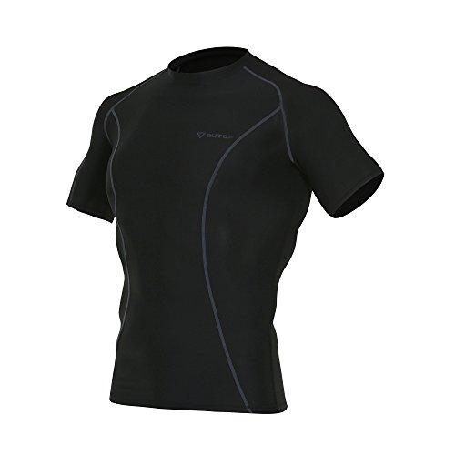 OUTOF Men's Sports & Outdoors Short Sleeve T-Shirts Baselayer Cool Dry Compression Top Running Yoga Rashguard Large Black