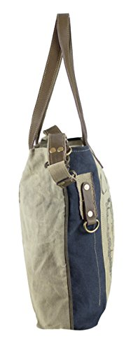 Handbag Canvas with of Shopper Women's 51714 Vintage Leather Sunsa Bag Shoulder Bag nx87Y1Awq
