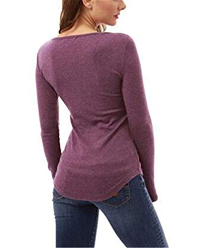 Couleur Violet Femmes Sport Solide Manches Blouses L'automne En Rond Dentelle Casual Pull Longues Crochet Sweatshirts À Tops Collier gzTwOa