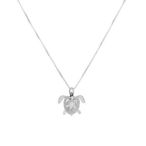 - Sterling Silver Mom/Baby Turtle Rhodium Plated Pendant Necklace (Sterling-Silver)