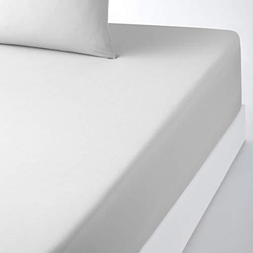 La Redoute Interieurs Cotton Fitted Sheet Grey Size 180 X 200 cm