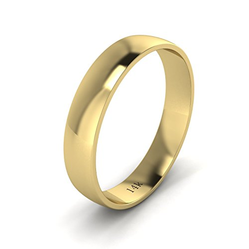 Yellow Gold Kids Ring (Unisex 14k Yellow Gold 4mm Light Court Shape Comfort Fit Polished Wedding Ring Plain Band (7.5))
