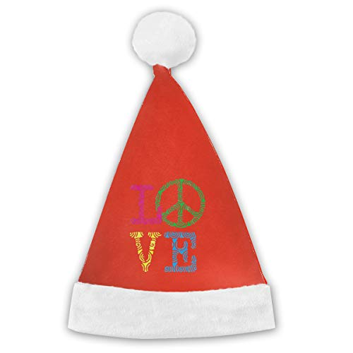 Christmas Santa Cap For Kids And Adult, Cute Love Peace Sign Santa Hat -