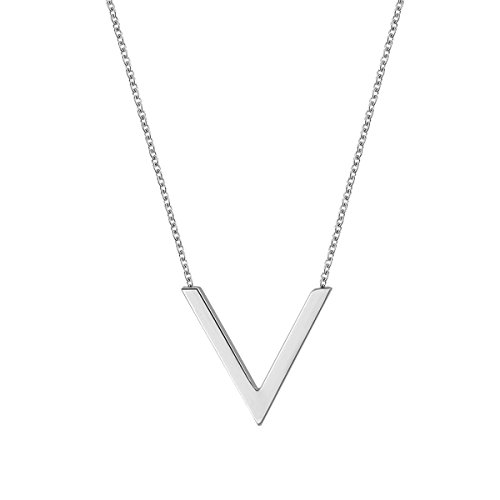 (K COOL Simple Silver Triangle Chevron Charm V Necklace Stainless Steel Letter V Chain)