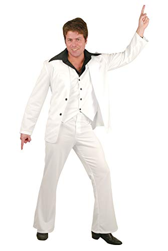Charades Men's Disco Fever Suit, White, Large -