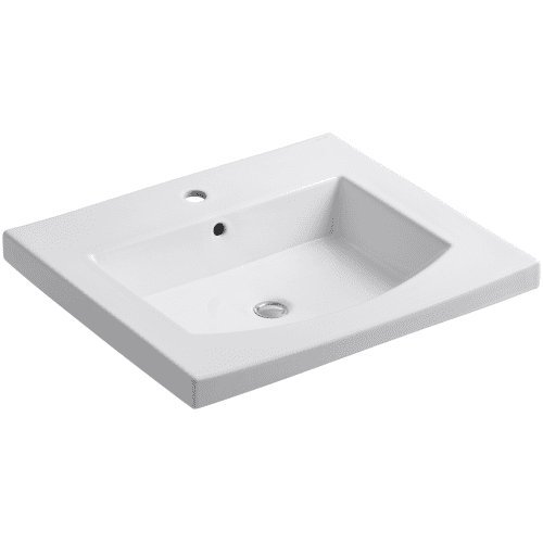 KOHLER K-2956-1-0 Persuade Curv Top and Basin Bathroom Sink with Single-Hole Faucet Drilling, White (China Top Vanity White)