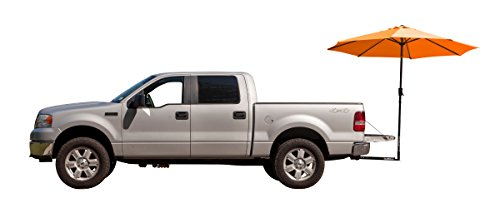 Orange TailBrella- Tailgate Hitch Umbrella Canopy For Truck SUV Tailgater. 9FT Large Water-Resistant Tailgating Tents for Outdoor Camping, Beach, Travel, Hunting. EZ Pop Up Umbrellas For Shade