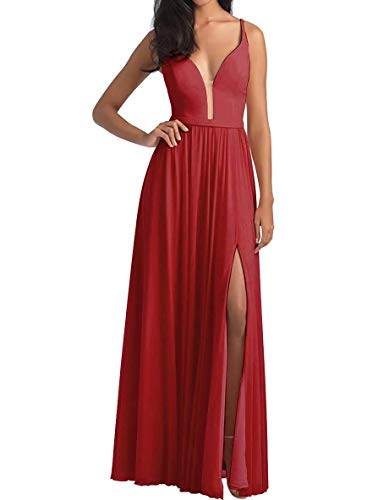 Lamosi Women's V Neck High Slit Bridesmaid Party Dresses Long Evening Prom Formal Gown with Belt Burgundy Size - Dessy Gowns Bridesmaids