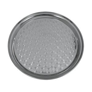 "Update International SST-14R 14"" Round Stainless Steel Serving Trays, 200 Series Non Magnetic S"