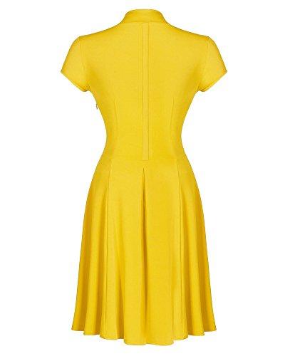 Mujeres Vestido V-Cuello Retro - 1950s Manga Corto Vestidos de Fiesta Elegantes Amarillo