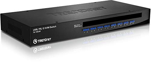 TRENDnet 16-Port Rack Mount USB KVM Switch, VGA & USB Connection, Supports USB & PS/2, Auto-Scan, Audible Feedback, Plug & Play, Hot Pluggable, Rack Mountable with Hardware, TK-1603R (Scan Usb)