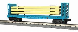 Rail King MTH 30-76714 GE フラット カー バルクヘッドとパイプ負荷付き