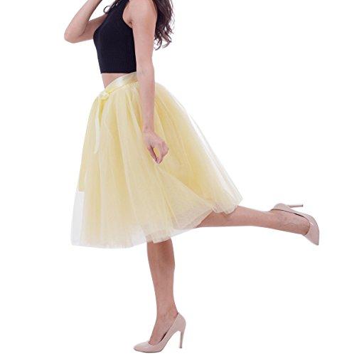Femme Jupon tulle varies couleurs Rockabilly en courte Jupe Pettiskirt tutu Jaune q7wnTArqZx