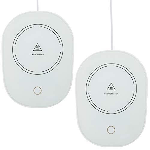 2 Pack USB Coffee Mug Warmer- 131℉ Desk Coffee Cup Heating Plate Auto Shut Off Thermostat Coaster Smart Cup Warmer Tea…