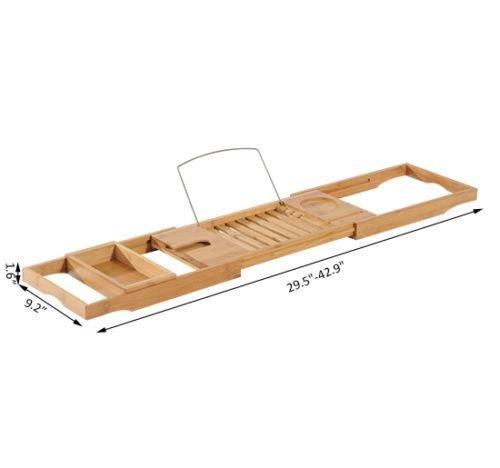 Bamboo Caddy Shelf Bathtub Rack Adjustable Book Tray Shower Tub Holder Stand