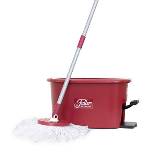 Fuller Brush Spin Mop Exclusive Bucket System - Easy Wring, 360° Spin - Streak Free Floor Cleaning - 1 Microfiber Mop Head - Ruby Red ()