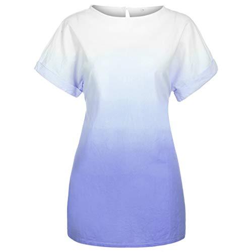 Caopixx Women Plus Size T-Shirt Dress Short Sleeve Casual O-Neck Print Dye Gradient Cotton Linen Dress Purple