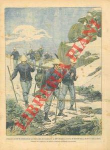 (I soldati alpini trasportano la statua in bronzo della Madonna delle nevi sulla cima del Rocciamelone. )