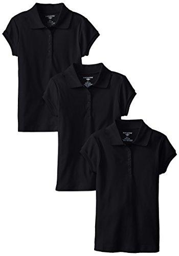 Dockers Little Girls' Uniform 3 Pack Short Sleeve Polo Bundle, Navy, Large