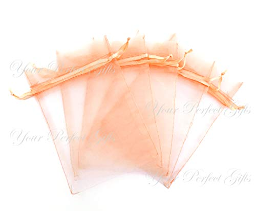 - Your Perfect Gifts 100 pcs 5x7 (13x18cm) Organza Bags Wedding Favor Bags Party Gift Bags Candy Bag Jewelry Pouch Drawstring Bag (Peach - FB071)