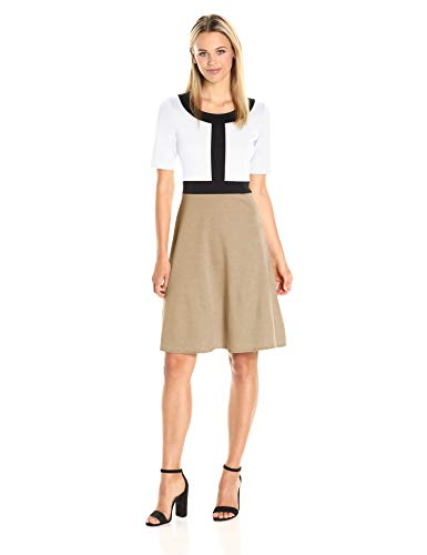Star Vixen Women's Short Sleeve Solid Strech Fit-n-Flare Dress with Black Colorblock Outline, White Stone, XL