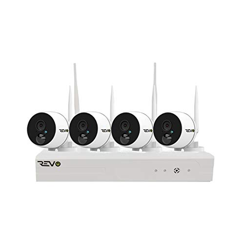 REVO America Wireless 4Ch. Security System - 1TB Full-HD Wi-Fi NVR, 4 x 1080p Audio Capable Indoor/Outdoor Bullet Cameras with Built-in PIR - Remote Access via Smart Phone, Tablet and PC